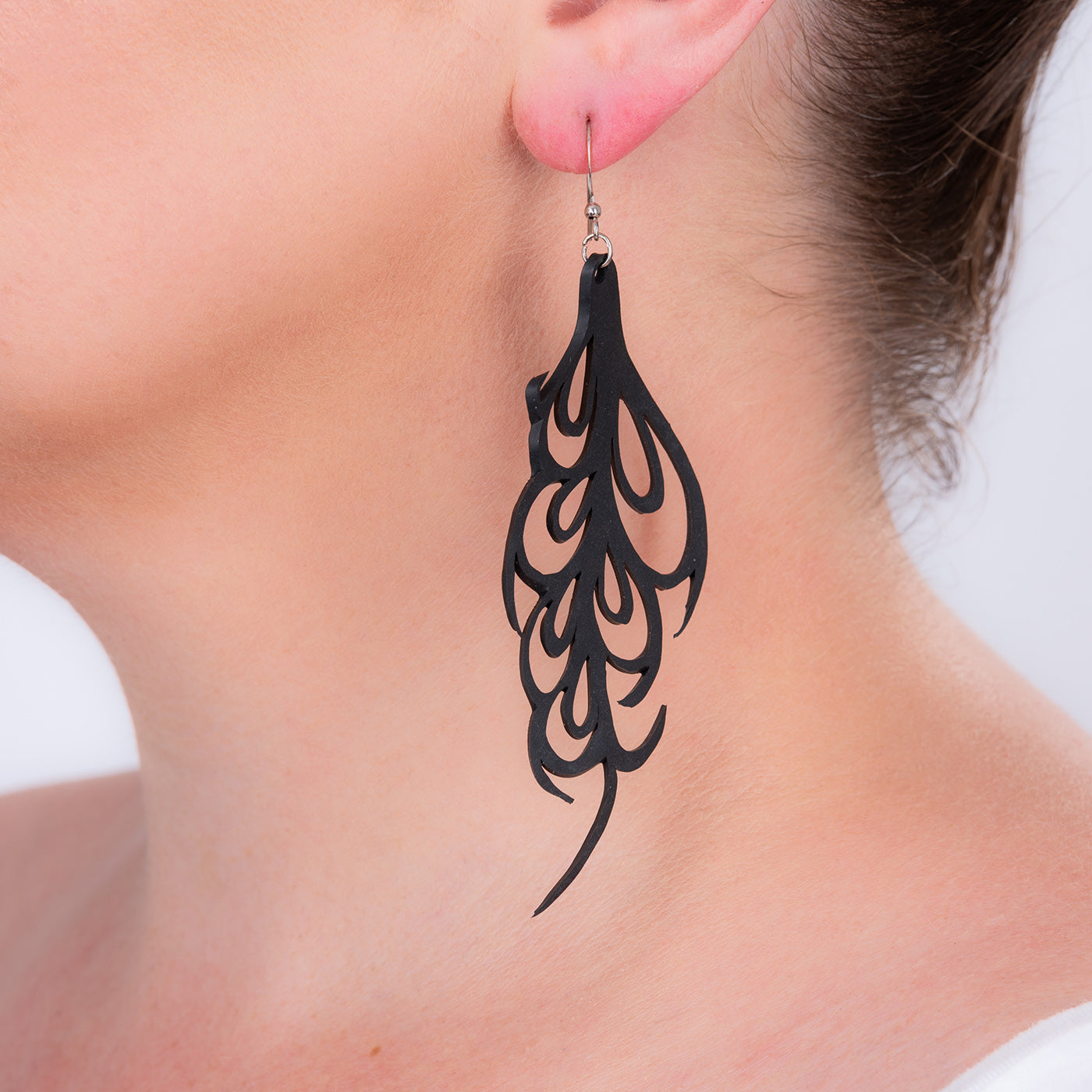 Bella Elegant Art Nouveau Inner Tube Earrings by Paguro Upcycle