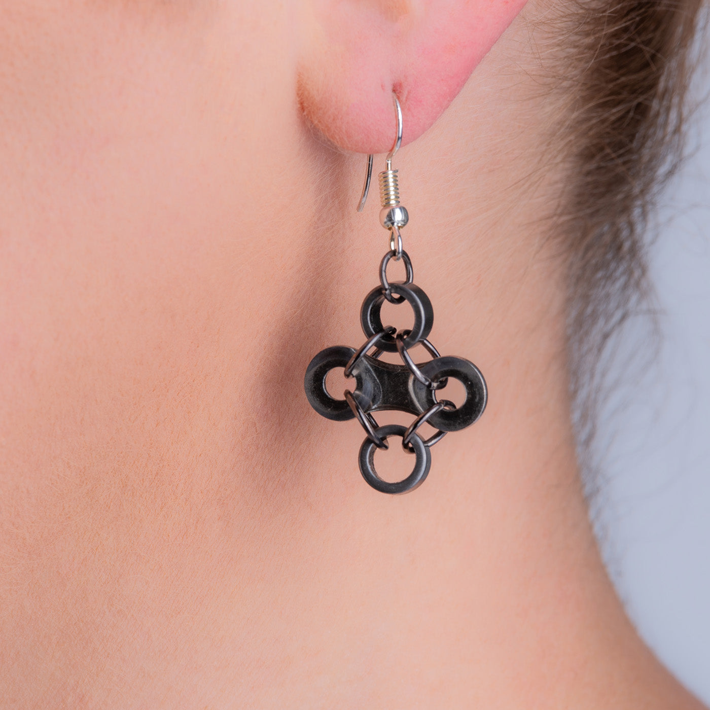 Diamond Stainless Steel Bicycle Chain Earrings by Paguro Upcycle