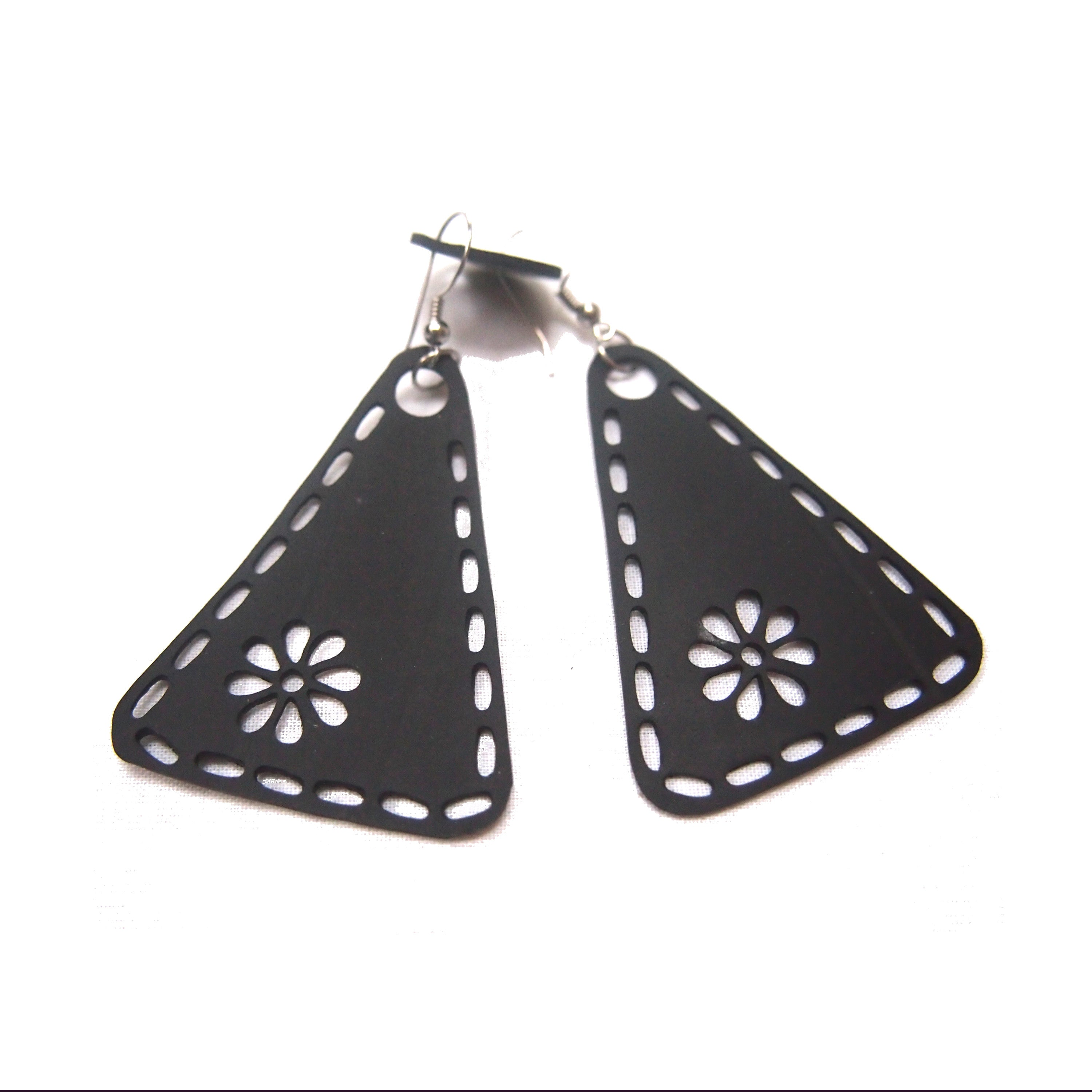 Unique Recycled Rubber Triangle Earrings by Paguro Upcycle