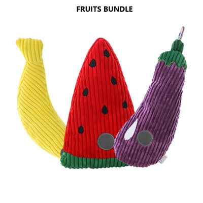 Squeaky Plush Dog Toys - Fruit Series