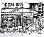 Gem Spa Drawing By Janie Peacock - Gem Spa NYC