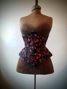 Red & Black Floral Brocade Underbust