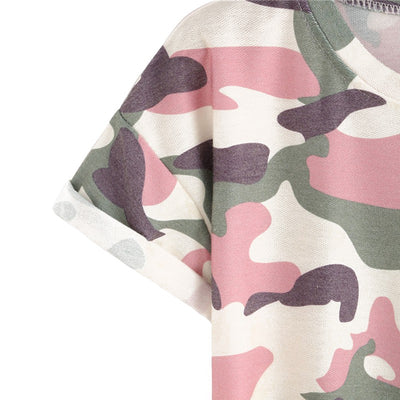 T-SHIRT CAMOUFLAGE FEMME ROSE