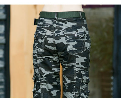 PANTALON CAMOUFLAGE FEMME<br> COUPE CARGO STREETWEAR