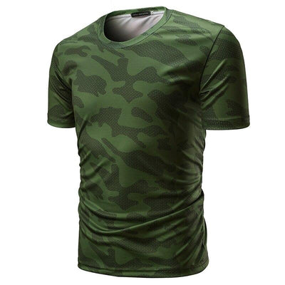 T-shirt Camouflage Homme Kaki pour Fitness