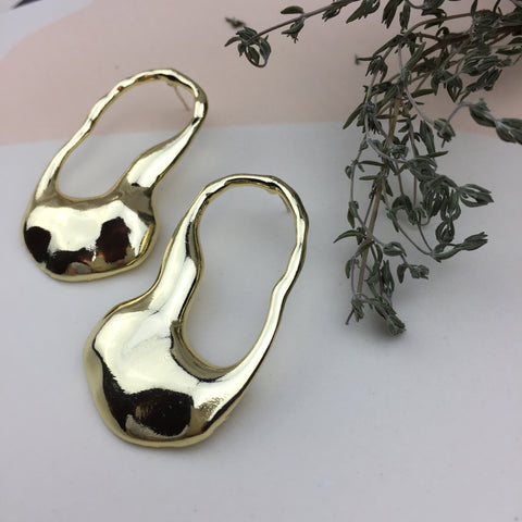 Melted Metal (Gold) Earrings - Twist Earring
