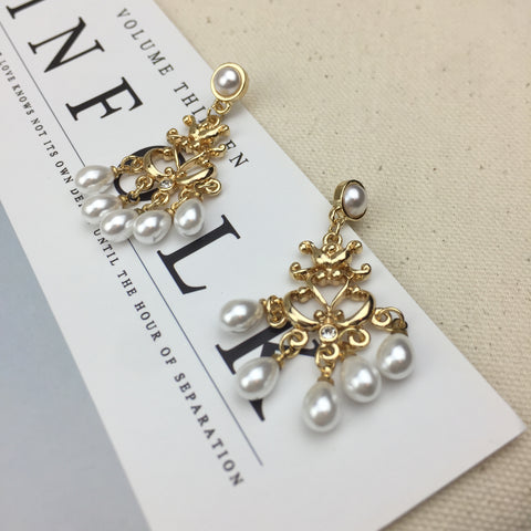 Pearl Anchor Earrings - Twist Earring