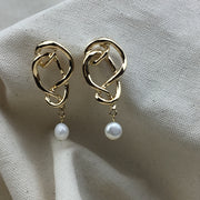 Golden Pearl Strand Earrings - Twist Earring