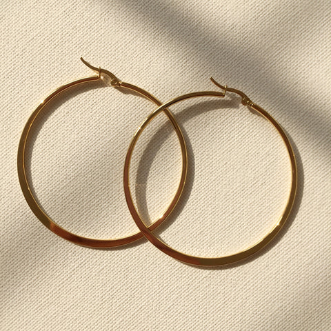 Flat Hoop Earrings - 2.4""