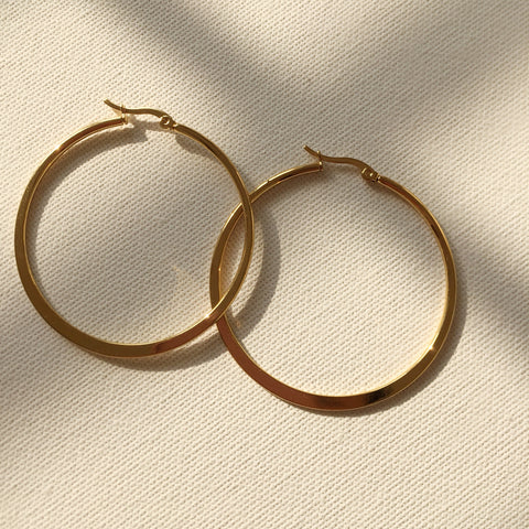 Flat Hoop Earrings - 2""