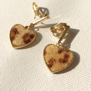 Leopard Hearts Ear Clips