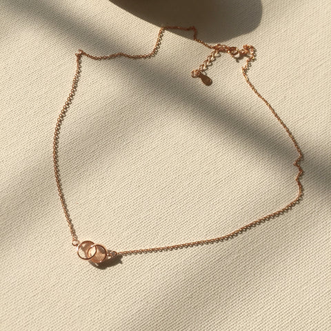 Dual Hoops Necklace-Rose Gold