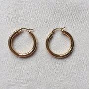 Gold Chunky Hoop Earrings-1.25""