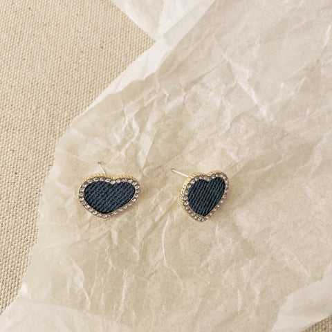 Denim Heart Earrings