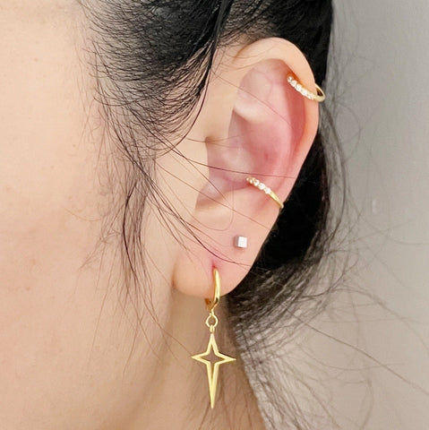 Dainty Crystal Ear Cuffs-Gold