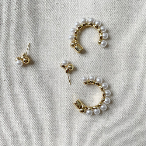 Front Back Pearl Hoop Earrings