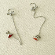 Heart & Ribbon Cuff Earrings