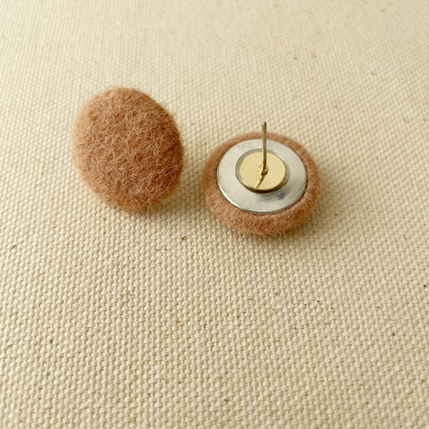 Mushroom Button Earrings-Pink