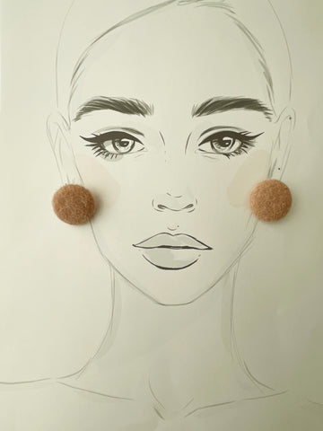 Mushroom Button Earrings-Mustard