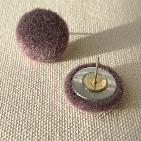 Mushroom Button Earrings-Purple
