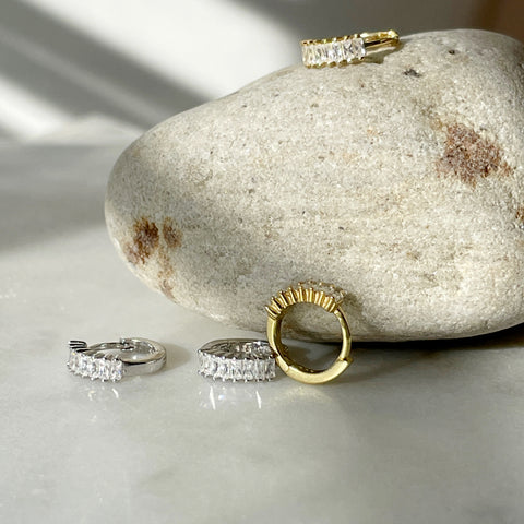 Pave Crystal Hoop Earrings-Gold