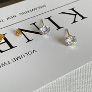 CZ Diamond Studs-6mm