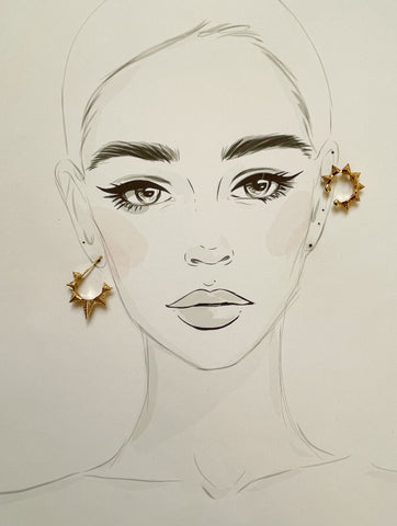 Gold Spike Cuff Earrings