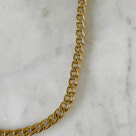 Simple Flat Curb Chain Necklace
