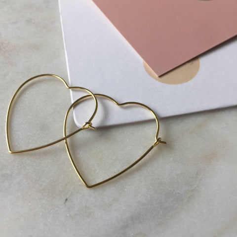 Wire Heart Earrings-Gold