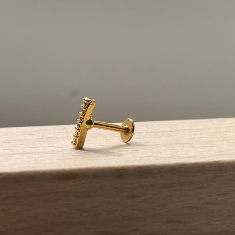 Gold CZ Mini Bar Piercing-18g