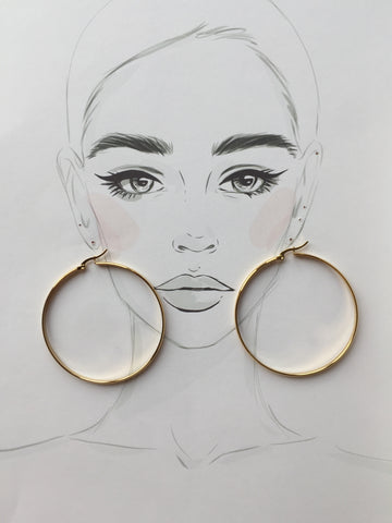 Gold Hoop Earrings-2.25""