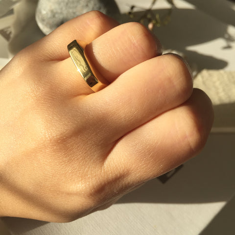 Gold Block Ring