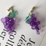 Crystal Grape Ear Clips