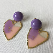 Purple Heart Ear Clips