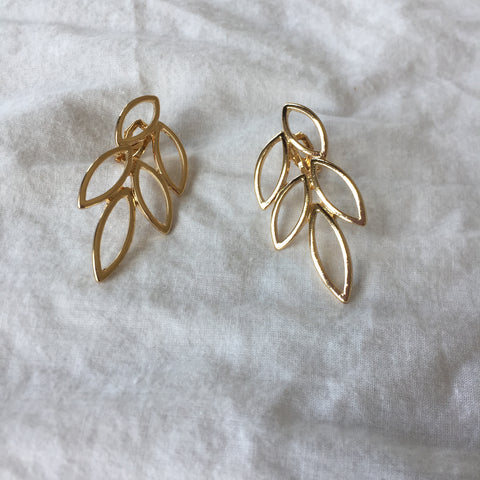 Golden Leaves Ear Clips