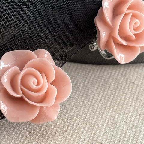 Pink Flower Ear Clips