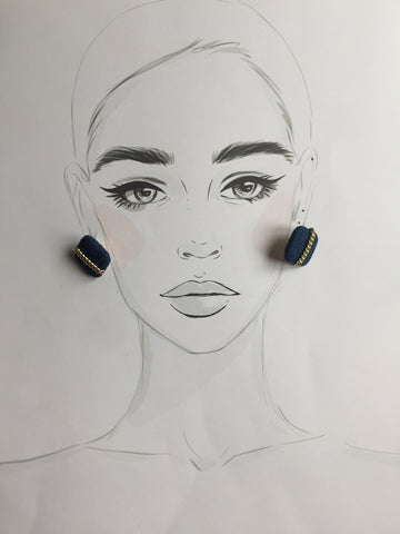 Square Denim Earrings