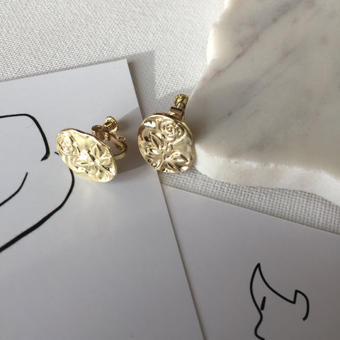Rose Stamp Ear Clips