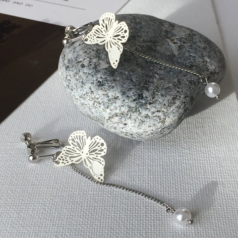Cream Butterfly Ear Clips