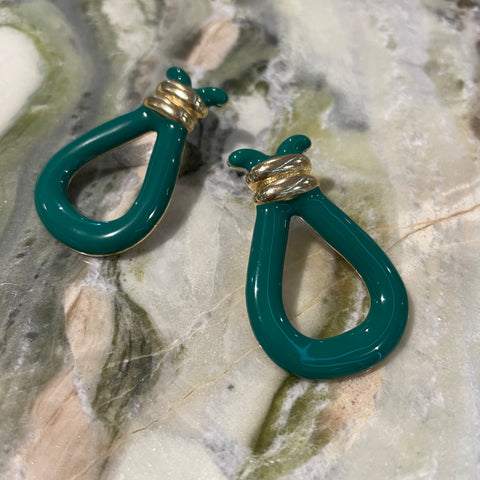 Green Tassle Earrings