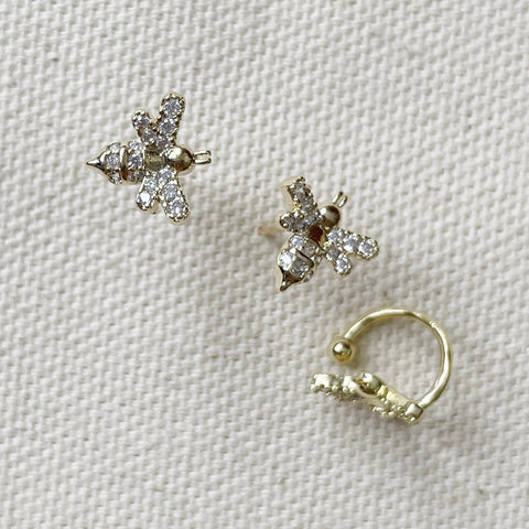 Bee & Bees Cuff Earrings