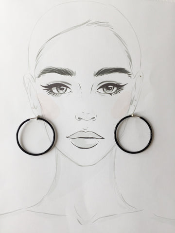 Black Hoop Ear Clips -1.5""