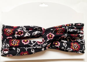 Black/red floral women's head wrap