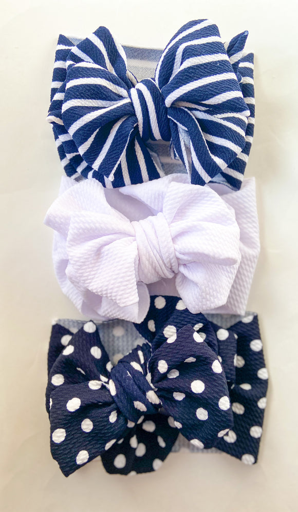 Navy stripe messy wrap