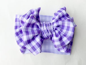 Purple plaid messy wrap