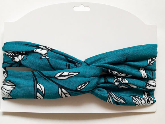 Turquoise floral women's head wrap