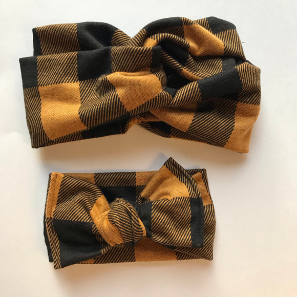 Mustard plaid women's head wrap