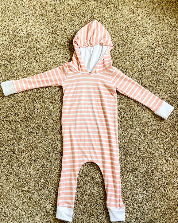 Pink stripe hooded coverall romper
