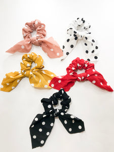 Short scarf scrunchies polka dot