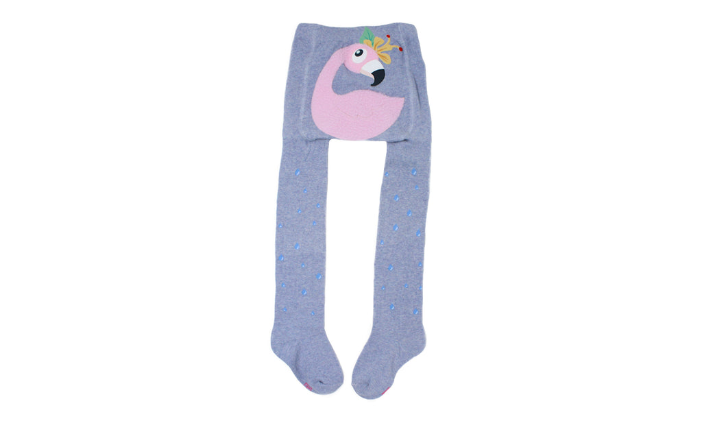 REF 39408C - Collant Fille 4D Flamand Rose Bleu Gris en Coton Peigné